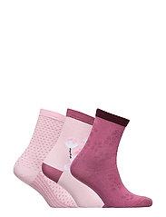 Socks 3-P Jaquard Preschool - ROSE SHADOW