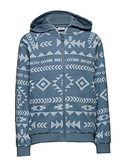 Zip Up l/s AOP hood School - BLUE HEAVEN
