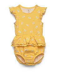 Body with  frill AOP Baby - LEMON DROP