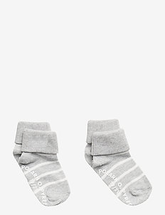 Socks 2-P Turn-up Anti Slip PO.P Stripe - strumpor - greymelange