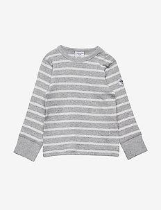 T-shirt l/s PO.P Stripe Baby - lange mouwen - greymelange