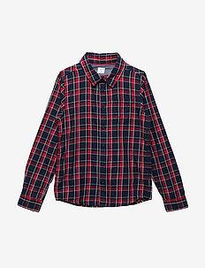 Shirt Long Sleeve Checked School - DARK SAPPHIRE