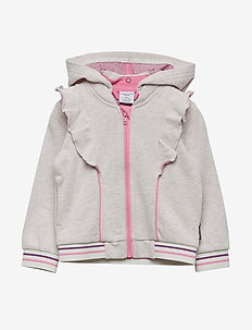 Zip Up l/s frill Pre-School - ECRU MELANGE