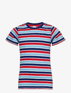 T-Shirt striped S/S striped School - FLAME SCARLET