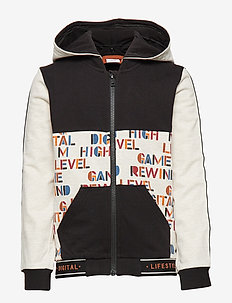 Zip up AOP Hood School - BLACK