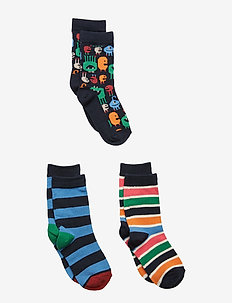 Socks 3-PJaquard/Striped Preschool - DARK SAPPHIRE