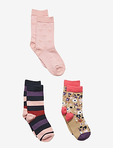Socks 3-PJaquard/Striped Preschool - INCENSE
