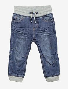 Jeans w Rib cuff and lining Preschool - BLUE DENIM