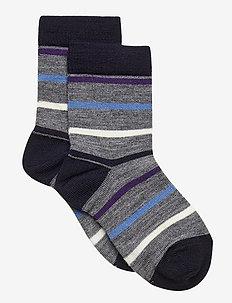 Socks Wool Striped Preschool - sokker - greymelange