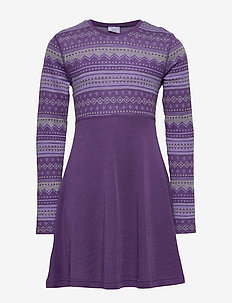 Dress l/s Wool Jaquard/Solid PreSchool - ASTER PURPLE