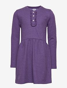 Dress l/s Wool Solid PreSchool - kjoler - loganberry