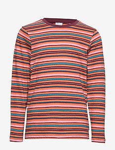 Top l/s striped School - BURNT BRICK