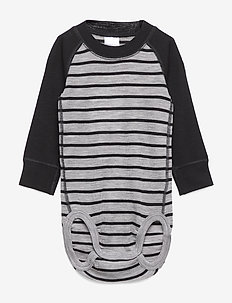 Body Wool Striped Newborn - GREYMELANGE