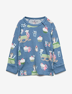 Top L/S AOP Baby - long-sleeved t-shirts - blue heaven