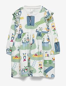 Dress L/S AOP Baby - sukienki - smoke green
