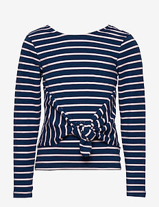 Top l/s Striped School - pitkähihaiset paidat - medieval blue