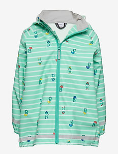 Rain Jacket Stripe/AOP Preschool - kurtki - waterfall
