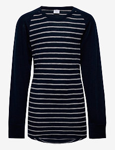 Long Sleeve Top Striped Adult - basislag - dark sapphire
