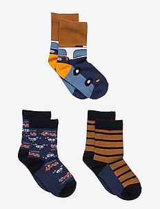 Socks 3-PJaquard/Striped Preschool - strumpor - ensign blue