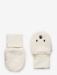 Mitten w Embroidery baby - winter clothing - egret