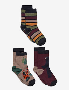 Socks 3-PJaquard/Striped Preschool - skarpetki - fungi