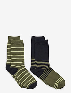 Socks 2P Striped School - sukat - olivine