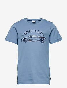 T-shirt front print School - kurzärmelige - blue heaven