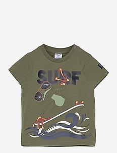T-shirt S/S front print Preschool - kortærmede - olivine