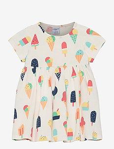 Dress Jersey AOP s/s Preschool - kleider - snow white