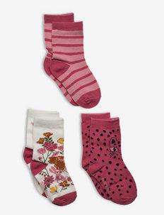 Socks 3-Pack Jaquard/Striped Preschool - strumpor - slate rose