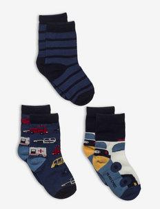 Socks 3-Pack Jaquard/Striped Preschool - strumpor - ensign blue