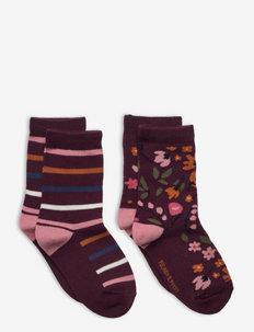 Socks 2-Pack Jaquard Preschool - strumpor - fig