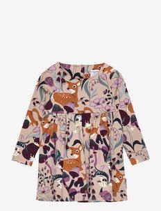 Dress L/S AOP jersey Preschool - kleider - simply taupe