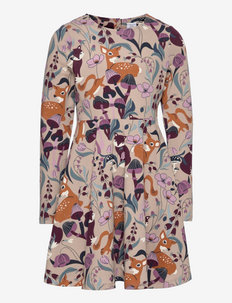 Dress L/S AOP jersey School - kleider - simply taupe