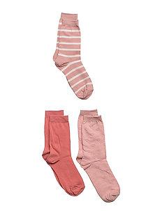 Sock 3-pack solid/stripe - MELLOW ROSE