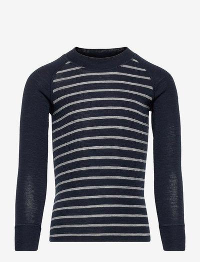 Sweater Wool Stripe - langärmelig - dark sapphire