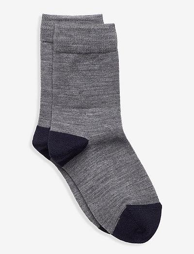 Socks Wool Solid Preschool - strümpfe - greymelange