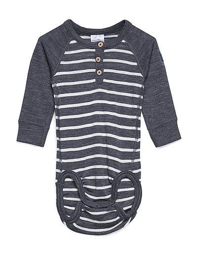 Body Wool Striped Newborn - GREYMELANGE