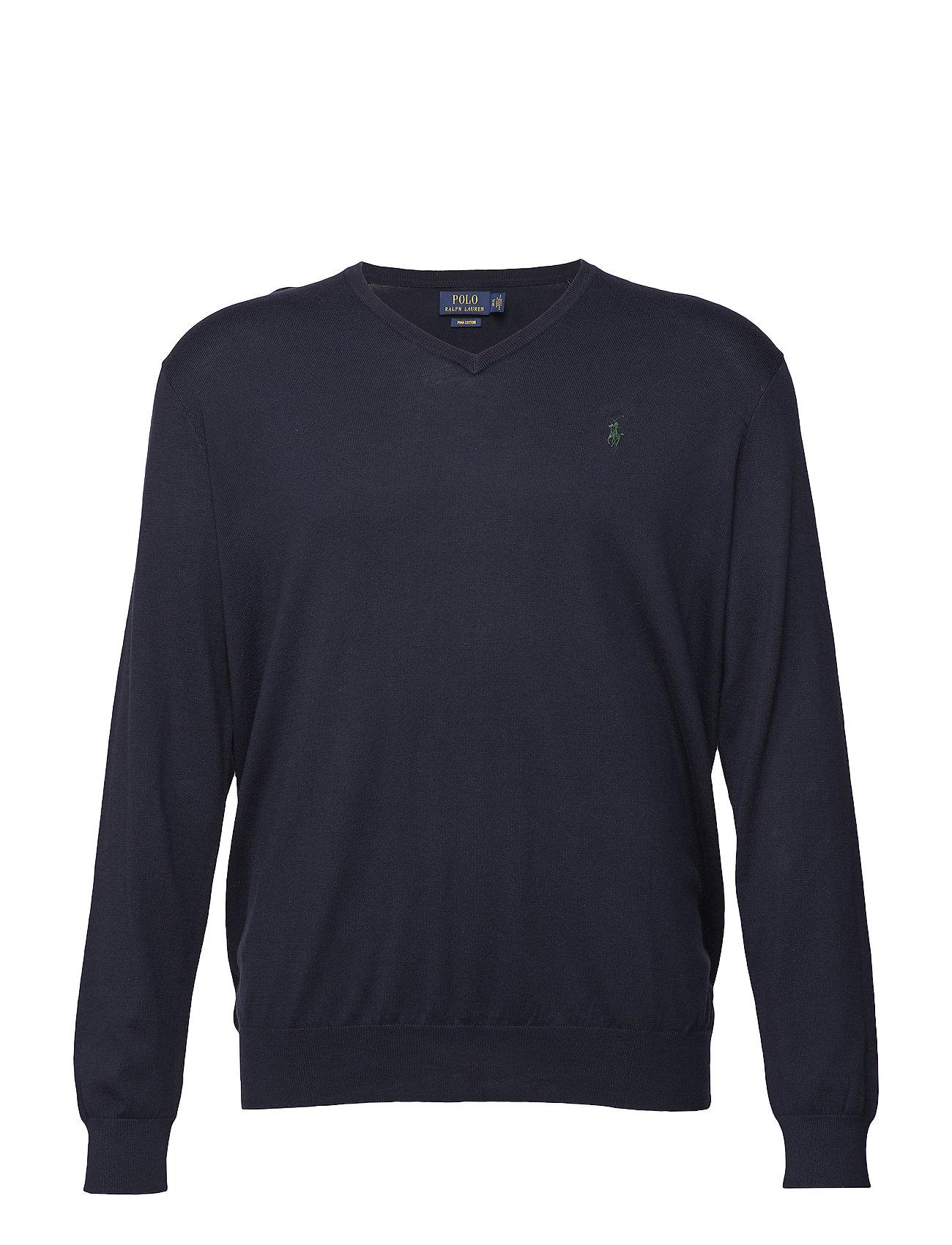 Polo Ralph Lauren Big & Tall Cotton V-Neck Sweater - HUNTER NAVY