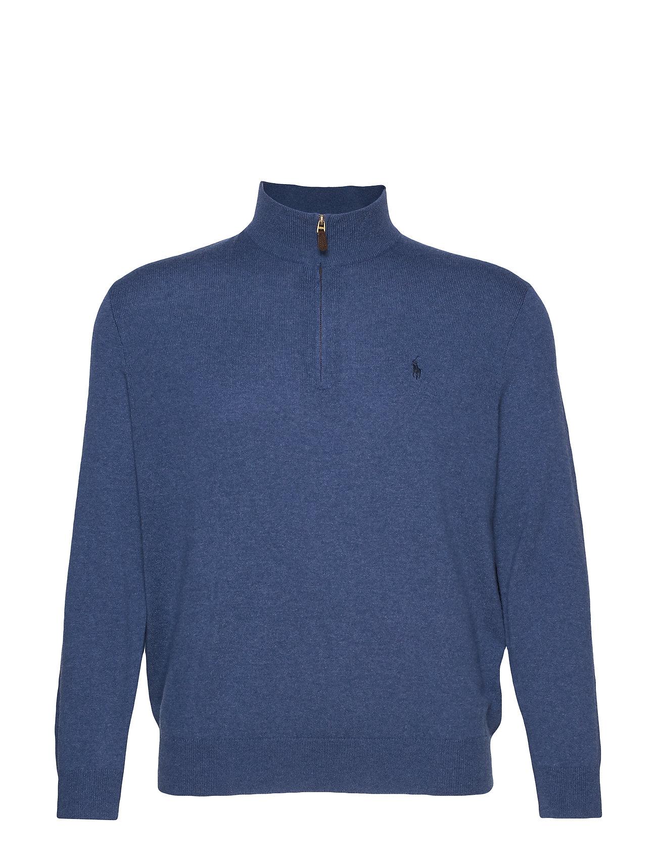 Polo Ralph Lauren Big & Tall Merino Wool Half-Zip Sweater - SHALE BLUE HEATHE