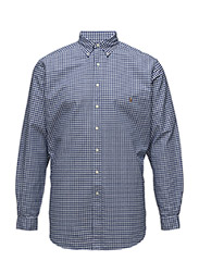 Classic Fit Cotton Sport Shirt - BLUE/WHT GING