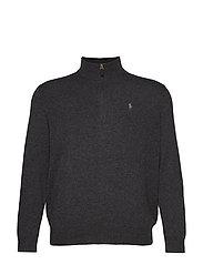 Merino Wool Half-Zip Sweater - DARK CHARCOAL HEA
