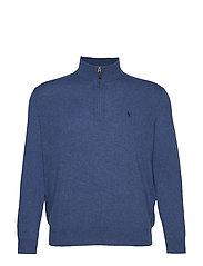 Merino Wool Half-Zip Sweater - SHALE BLUE HEATHE
