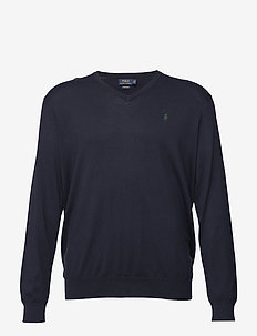 Cotton V-Neck Sweater - HUNTER NAVY