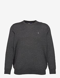 Washable Merino Wool Sweater - round necks - dark granite heat