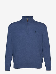 Merino Wool Half-Zip Sweater - SHALE BLUE HEATHE