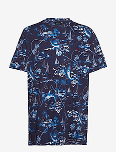 Classic Fit Cotton Graphic Tee - MARLIN BLUE MULTI