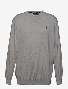 Cotton V-Neck Sweater - ANDOVER HEATHER
