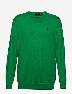 Cotton V-Neck Sweater - STEM GREEN