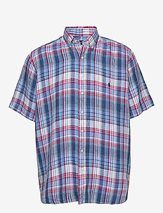 Classic Fit Plaid Linen Shirt - 3313 BLUE/CHERRY